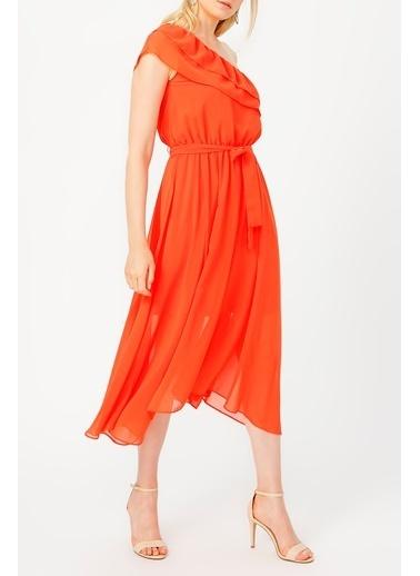 Random Kadın Yakası Volanlı Tek Omuz şifon Elbise Oranj